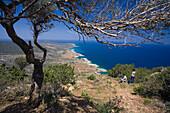 People hiking to Moutis tis Sotiras, 370m, Aphrodite trail, Jalos Activ Tour, Akamas Nature Reserve Park, South Cyprus, Cyprus