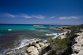 Coastal landscape and Mediterranean Sea, Akamas Nature Reserve Park, South Cyprus, Cyprus
