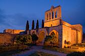 Bellapais abbey in the evening light, Beylerbeyi, Abbaye de la Pais, monastery ruin, near Kyrenia, near Girne, North Cyprus, Cyprus