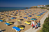 People walking to the beach, Acapulco Beach, Acapulco Beach Club and Resort Hotel, 10km east of Kyrenia, Girne, Kyrenia, North Cyprus, Cyprus