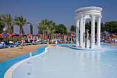 People relaxing at the pool, WaterWorld Waterpark, Agia Napa, South Cyprus, Cyprus