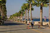 Sea Front Promenade lined with palm trees, Lemesos, Limassol, South Cyprus, Cyprus