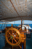 Wheel of a ship, Neptun pirat boat trip, Kaleidoskop Turizm, Kyrenia, Girne, North Coast, Cyprus