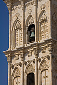 Facade of Agios Lazaros church with bell tower and bell, Cypriot Orthodox church in Larnaka, South Cyprus, Cyprus