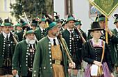 Bavarian mountain brigade, Procession of Mountain Riflemen in traditional costume, regional costume, Gebirgsschütze, Upper Bavaria, Bavaria, Germany