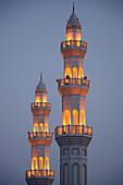 Two Minarets with illumination, Abu Dhabi, United Arab Emirates, UAE
