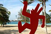 Art on the beach from artist Keith Haring, Abu Dhabi, United Arab Emirates, UAE