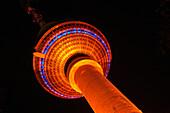 Illuminated Television Tower at night, Berlin, Germany