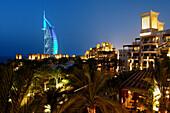 Al Qasr Hotel, Madinat Jumeirah with Burj al Arab in the background, Dubai, United Arab Emirates, UAE