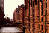 Warehouse district in the evening, Hamburg, Germany