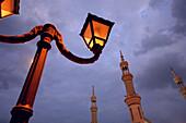 Lantern and detail of mosque in Ras Al Khaimah, RAK, United Arab Emirates, UAE