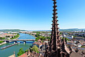 Panorama of Basel showing Basel Muenster and Rhein, Basel, Switzerland