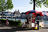 Ice-cream cart along the banks of the River Rhein, Riviera Klein-Basel, Basel, Switzerland