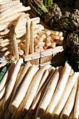 Fresh asparagus on a fruit and vegetable stall, Market, Basel, Switzerland