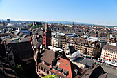 Old city of Basel from above with view of Town Hall, Basel, Switzerland