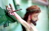Christian, Christianity, Close up, Close-up, Closeup, Color, Colour, Concept, Concepts, Cross, Crosses, Crucifix, Crucifixes, Crucifixion, Detail, Details, Faith, Horizontal, Iconography, Indoor, Indoors, Inside, Interior, Jesus Christ, Nail, Nails, Pain