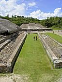Ball court at the old city of El Tajin. Veracruz state. Mexico