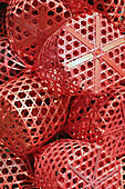 Red baskets on Chatuchak Weekend Market, Bangkok, Thailand, Southeast Asia