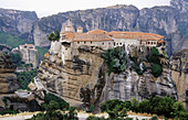 Varlaam (All Saints) Monastery and Roussanou Monastery (at the background). Meteora. Thessaly, Greece