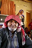 Arabic origin family. Harran beehive houses. Southeast Anatolia. Turkey.