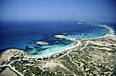 Ses Illetes beach. Es Trucadors and S Espalmador island as seen from the air. Formentera. Balearic Islands. Spain.