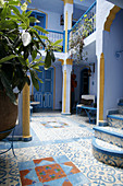 Typical courtyard Chefchaouen, Morocco.