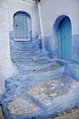 Façade in typical houses in Chefchaouen. Morocco