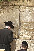 Praying at the wailing wall in Jerusalem, Israel.