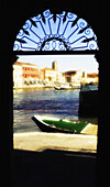 View from arched doorway. Murano Island, Venice. Italy