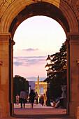 Obelisk and Arc de Triomphe seen from the Arc de Triomphe du Carrousel. Paris. France