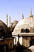 View of the Blue Mosque from Hagia Sofia rooftop domes. Istanbul. Turkey