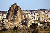 Landscape with volcanic rock formations near Göreme. Cappadocia. Turkey.