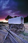 Oregon trail wagon at Whitman Mission National Historic Site. Walla Walla. Washington. USA