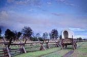 Wagon at Whitman Mission National Historic Site. Walla Walla county. Washington. USA