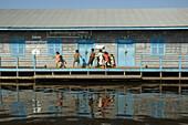 School. Chong Kneas lake dwelling on the Tonle Sap lake. Siem Reap area. Kingdom of Cambodia.