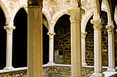 Cloister. Old fortified monastery. Île Saint-Honorat. Îles de Lérins. Alpes Maritimes. France.