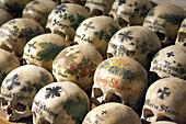 Skulls At Charnel House In the Chapel Of Michaeli Church, Hallstatt, Salzkammergut, Austria