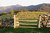Property gate in Fresno. Parque Natural de Redes. Asturias. Spain.
