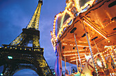 Merry-go-round and Eiffel Tower. Paris. France