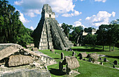 Temple of the Giant Jaguar at Gran Plaza. Mayan ruins of Tikal. Peten region. Guatemala