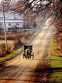 Amish buggy on country dirt road. Shipshawana. Indiana. USA