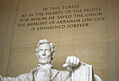 Bust and words on the wall of Lincoln Memorial. Washington D.C. USA