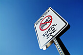 Street sign advises that this is a drug free school zone