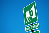 Traffic sign alerting driving public to the location of a train station