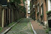 Historic Acorn Street in the Beacon Hill area of Boston Massachusetts MA