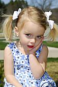Pretty smiling three year old female child