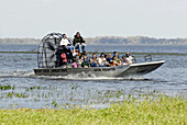 Boggy creek airboat rides on West Lake Toho at Southport Park near Kissimmee Orlando Disney Theme Park Area. Florida. USA