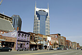 Live Music Venues along Broadway Street with Cityscape Skyline Bellsouth. Nashville. Tennessee. USA.