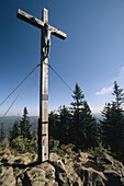 Cross on the summit of Rachel, Mountain, Bavarian Forest National Park, Lower Bavaria, Bavaria, Germany