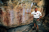 Felsmalereien der Aborigines nahe dem Jowalbinna Camp, Queensland, Australia